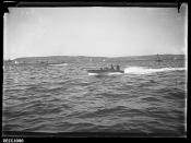 Motor boat QUEENSLAND at the 1912 Motor Boat Championship, Sydney Harbour