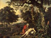The Parable of the Good Samaritan by Jan Wijnants (1670) shows the Good Samaritan tending the injured man.