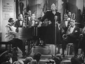 Cropped screenshot of Count Basie and his band with featured vocalist Ethel Waters from the film Stage Door Canteen.