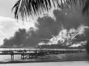 English: A navy photographer snapped this photograph of the Japanese attack on Pearl Harbor in Hawaii on December 7, 1941, just as the USS Shaw exploded. (80-G-16871)