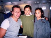 Swimmer Ian Thorpe on a plane.