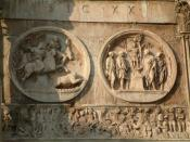 A contemporary image of the battle from the Arch of Constantine, Rome. In the frieze at the foot of the image Constantine's cavalry drive Maxentius' troops into the waters of the Tiber.