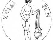 Engraving of a coin from Knidos showing the Aphrodite of Cnidus, by Praxiteles