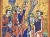 Three Capetian French scholars consulting an astrolabe, ca. AD 1200