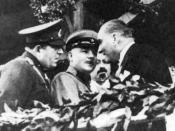 English: Mustafa Kemal Atatürk, the founder and first president of the Republic of Turkey with Kliment Voroshilov. Türkçe: Mustafa Kemal Atatürk, Cumhuriyet Bayramı geçit töreninden sonra Sovyet Mareşali Kliment Voroşilov ile.
