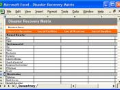 Disaster Recovery Matrix