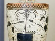 Achilles (on the left) and Ajax the Great (on the right) playing dice, identified by inscriptions. Black-figure Attic lekythos.