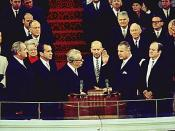 Four Vice Presidents: L-R, outgoing Pres. Lyndon Johnson (the 37th Vice President), incoming Pres. Richard Nixon (36th), Everett Dirksen, Spiro Agnew incoming Vice President (39th), and the outgoing Vice President Hubert Humphrey (38th), January 20, 1969