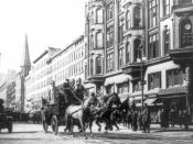 English: Horse-drawn fire engines in street, on their way to the Triangle Shirtwaist Company fire, New York City