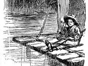 Traditional raft, from 1884 edition of Adventures of Huckleberry Finn.
