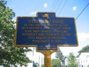Historical maker in Port Jervis, New York that points out the park that American author Stephen Crane wrote parts of The Red Badge of Courage.