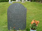 English: Image: Headstone of John Betjeman, English poet. Location: St Enodoc's Church, Trebetherick, Cornwall, England Photograph taken by User: Tom Oates in September 2007. Required attribution is: Photo by Tom Oates. Category:Cornwall Category:John Bet