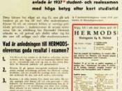 English: Advertisement for Hermods (distance learning school) in Sweden Deutsch: Zeitungsannonce der Fernschule Hermods in Schweden