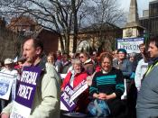 A rally of the trade union UNISON in Oxford during a strike on March 28, 2006, with members carrying picket signs.