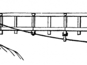 English: Detail of an underspanned suspension bridge, an early 19th century descendant of the simple suspension bridge. The deck is raised on posts above the main cables.