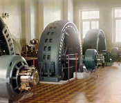 Original Description: Alternators made in Budapest, Hungary, in the power generating hall of a hydroelectric station in Iolotan on the Murghab River. This was the Hindu Kush Hydro Power Plan, in today's Turkmenistan, the largest hydro power plant of Russi