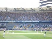 Shane Warne bowling to Ian Bell in the 2006-07 Ashes in Brisbane.