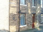 Hughes' birthplace at 1, Aspinall Street, Mytholmroyd, West Yorkshire