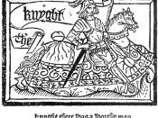 English: Woodcut from 15th century. From General Prologue page of the Canterbury Tales by Geoffrey Chaucer. The text reads (approximately): And at a knyght than wol I first bigynne. A knyght ther was, and that a worthy man, That fro the tyme that he first