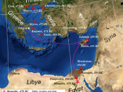 Map of the eastern Mediterranean, showing the location of battles fought by the Delian League, 477–450 BC