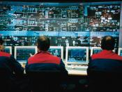 English: Control room of a moving grate incinerator for municipal solid waste. The screen shows two oven lines, of which the upper (
