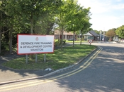 English: Entrance to the Defence Fire Training and Development Centre at Manston, Kent, UK. It is also home to the Manston Fire Museum.