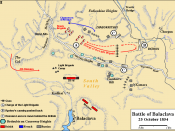 Battle of Balaclava - Charge of the Light Brigade. Based on map in Trevor Royle's Crimea: The Great Crimean War 1854-1856.