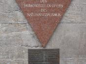 English: Memorial to Gay Victims of the Holocaust in Berlin. Its inscription reads: Totgeschlagen – Totgeschwiegen (Struck Dead – Hushed-Up).