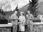 King George VI and Queen Elizabeth talking with Rt. Hon. W.L. Mackenzie King on the terrace of the Banff Springs Hotel