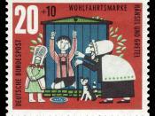 Series for social welfare 1961, fairy tale of the brothers Grimm, Hansel and Gretel :*Ausgabepreis: 20+10 Pfennig :*First Day of Issue / Erstausgabetag: 2. Oktober 1961 :*Michel-Katalog-Nr.: 371