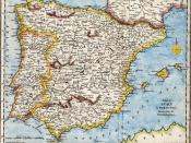 18th century hand-coloured engraved map of the Iberian peninsula depicting various topographical features of the land, as published in Robert Wilkinson's General Atlas, circa 1794. (Volume 2., page 666.) Titl'd A Map of Spain & Portugal, Drawn from the Be