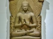 Buddha in Sarnath Museum (Dhammajak Mutra) Location:Sarnath Museum, India.