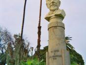 Bust of Luigi Pirandello in a public park (Giardino Inglese) in Palermo, Sicily.