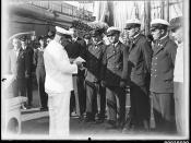 Captain Lorenz Peters addressing his officers on board MAGDALENE VINNEN