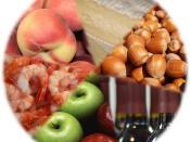 English: Food types likely to cause allergic reactions in adults in Sweden: drupe, cheese, nuts, wine, apples, and shellfish. Svenska: Födoämnen som ofta utlöser överkänslighetssymtom hos vuxna i Sverige: stenfrukter, ost, nötter, vin, äpplen och skaldjur