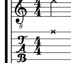 dead note in standard notation and guitar tablature