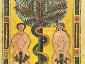 Illuminated parchment, Spain, circa AD 950-955, depicting the Fall of Man, cause of original sin.