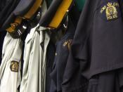 English: A row of RCMP uniforms