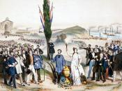 English: Suffrage universel dédié à Ledru-Rollin, painted by Frédéric Sorrieu in 1850. This lithography pays tribute to French statesman Alexandre Auguste Ledru-Rollin for establishing universal male suffrage in France in 1848, following the French Revolu