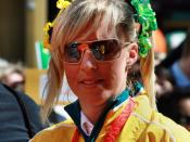 Australian olympic equestrian silver medalist Megan Jones at the Melbourne homecoming parade for 2008 Olympic Team.