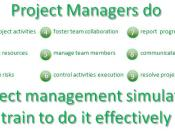 English: The picture explains what the project managers do and confirms that the project management simulators train to do it effectively