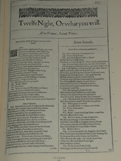 Photo of the first page of Twelfth Night from a facsimile edition of the First Folio of Shakespeare's plays, published in 1623