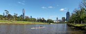 Yarra River & Melbourne City Skyline View at Alexandra Gardens