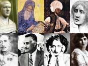 Notable Arabs for the infobox. From left to right: Philippus Arabus, John of Damascus, al-Kindi, al-Khansa, King Faisal I, Gamal Abdel Nasser, Asmahan, and May Ziade.