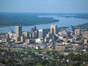 English: Memphis, Tennessee skyline from the air. A photograph by myself while in Memphis]