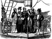 18th century illustration of Richard Parker (British sailor) about to be hanged for mutiny.
