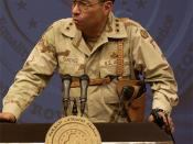 English: , Commander V. Corps, 7th Army, US Army Europe, cropped from U.S. Army Lt. Gen. Sanchez, left, talks while the Honorable Donald H. Rumsfeld, (left) U.S. Secretary of Defense, listens during a press conference in Baghdad, Iraq, on Sept. 6, 2003. (