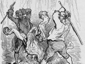 """English: Paul Gustave Doré's 9th illustration for Baron von Münchhausen (1862) Deutsch: Illustration für """"Baron Münchhausen"""" von Gustave Doré (1862) Español: Barón von Munchhausen (1862)"""