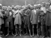 English: Starved prisoners, nearly dead from hunger, pose in concentration camp in Ebensee, Austria. The camp was reputedly used for