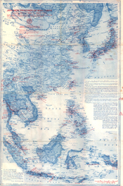 English: A map displaying location of Japanese Prisoner of War camps for Allied personnel during World War II. See the back of this map. Cropped caption: Springman-King Printing, Inc., Brownsville, Texas 78520
